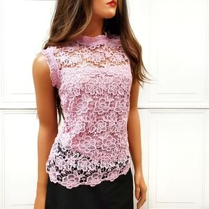 NANETTE LEPORE Embroidered Lace High Neck Top S